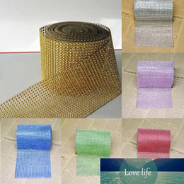 Discount chocolate roll cake Multicolor 90cm Bling Diamond Mesh Roll Tulle Wrap Cake Trim Crystal Rhinestone Ribbon Wedding Favor Decor Party Supplie