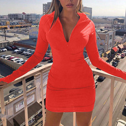 Wholesale red short tight dresses for sale - Group buy Red Tight Dress Women High collar Slim and Long sleeved Zipper Sport Wrapped Hip Short Mini Dresses Female New Vestidos LJ201203