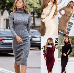 ingrosso abiti da collo di tartaruga-Abiti Midi Color Solid Fashion Casual Slim Knitting Donne vestiti Donne Designer Maglione Dresser Dress Turtle Neck