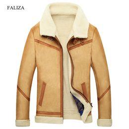 Wholesale mens fur lined jackets resale online - FALIZA New Winter Leather Coats Mens Faux Fur Coat Male Leather Jacket Fleece Lined Velvet Thick Slim Thermal Fur Jacket Men JKF