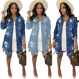 Wholesale women denim trench coat resale online - Women Autumn Winter Outdoor Casual Jacket Coats Fashion Solid Hole Hollow Out Denim Trench Coat Hot