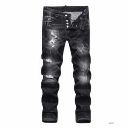 Wholesale white rock revival jeans mens resale online – designer mens luxury designer jeans denim black ripped pants the best version Italy brand bike moto rock revival new fashion