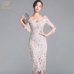 v neck cold shoulder dress UK - H Han Queen Korean Style Elegant Lace Pencil Bodycon Dress Women 2018 Sexy Special Occasion Dresses Slim Cold Shoulder Vestidos Y200418