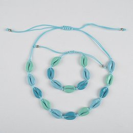 hand woven earrings Australia - UJBOX Imitation Shell Mixed Color Hand-woven Bracelet Necklace Adjustable Sea Blue Short Shell Bracelet Collar Clavicle Chain