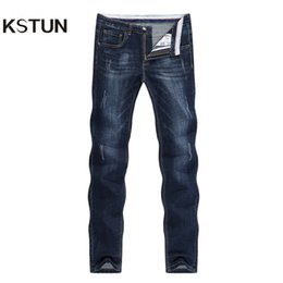 Wholesale designer jean trousers men resale online – designer Kstun Men s Jeans Summer Denim Pants Slim Straight Dark Blue Regular Fit Leisure Long Trousers Famous Brand Jean Men Hombre