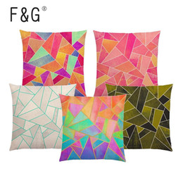 rainbow pillow cover NZ - Abstract Geometric Cushion Cover White Purple Black Blue Pink Colorful Triangles Gold Lines Rainbow Stones Car Sofa Pillow Case