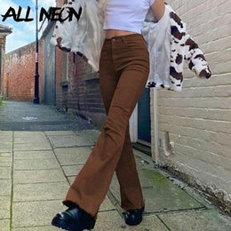 ingrosso abiti estetici-Allneon Indie Aesthetics Slim Brown Jeans Blare Jeans Y2K Vintage Solid High Vita Moms Pants s Fashion Demin Pantaloni E Girl Outfit