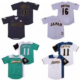 Japan 16 Shohei Ohtani Jersey 11-Mann-Baseball Hokkaido Nippon Ham Fighters Alle genähtes Pinstripe kühler niedriger Whte Grün Schwarz Team-Farbe im Angebot
