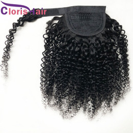 Discount hair colors women Wrap Around Ponytail 100% Human Hair Raw Virgin Indian Kinky Curly Clip In Extensions For Black Women Thick Curly Ponyta