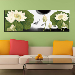 fish art paintings NZ - 1 Pcs Canvas Painting Wall Art Poster Home Decoration Posters And Prints Abstract Fish Lotus Flower Pictures for Living Room