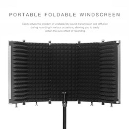 Wholesale pop filters for sale - Group buy FreeShipping Foldable Microphone Isolation Shield Studio Recording Live Broadcast Panel Pop Filter Adjustable High Density Mic Isolator