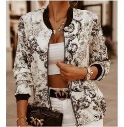 Wholesale beige bomber jacket women resale online – Women Bomber Jacket Thin Printing Jackets Fashion Basic Long Sleeve Coat Casual Windbreaker Stand Collar Slim Outerwear