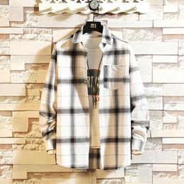 Wholesale shirt flannel for sale - Group buy Retro Mens Shirt New Flannel Plaid Men s Shirt Long Sleeve Cotton Loose Streetwear Jacket Shirts Kpop Clothes Dropship