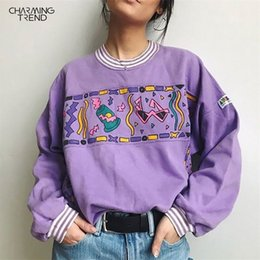 Wholesale sweatershirts women resale online - Women Hoodies Purple Autumn Round Neck Young Girls Female Printed Clothes Loose Cute Women Pullover Sweatershirts Oversize