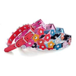 dog collars row UK - Pu pet collar colorful dog with a row of small dog collar pet supplies dog chain