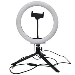 Halka Işık LED Masaüstü Selfie'nin Halka Işık USB LED Masa Kamera ringlight tripod ile 3 Renk Işık iPhone Cep Telefonu Tutucu Stand