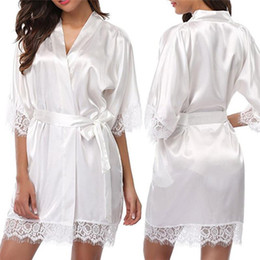 Wholesale brides robes resale online - Women Short Satin Bride Robe Sexy Wedding Dressing Gown Lace Silk Kimono Bathrobe Summer Bridesmaid Nightwear