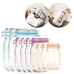 Food Storage Bags Mason Jar Shape Reusable Snacks Cookie condiment Zipper Seal Leak-proof Organizer Plastic for Travel OWC1624 on Sale