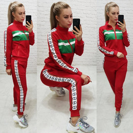 Wholesale hot leisure suit resale online – G39 European and American hot autumn winter new stand collar splicing leisure sports suit for women