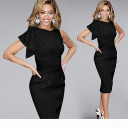 Wholesale prom wiggle dresses resale online – Sexy Casual Women Dresses Elegant Ruffle Sleeve Ruched Party Evening Prom Fitted Stretch Wiggle Pencil Sheath Dresses