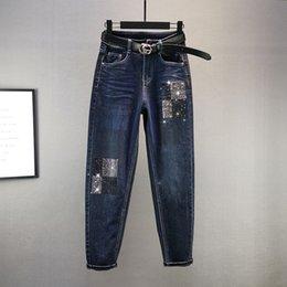 Wholesale european designer jeans for sale – denim Hot Drilling Women s Autumn Winter New European High Waist Loose Cotton Elastic Dark Cowboy Pants Girls Street Jeans