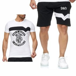 Soa figli di Anarchy Mens Short Set Skull Print Summer Casual Men Cotton Sports Suit T-Shirt + Pantaloncini 2 pezzi Set Abiti sportivi