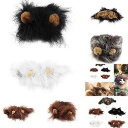 lion head costume UK - Pet Cat Dog Emulation Lion Hair Mane Ears Head Cap Autumn Winter Dress Up Costume Muffler Scarf 5 colors 4 NMQJ5