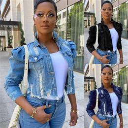 Wholesale black jacket puff sleeves for sale – winter Plus Size Women Denim Jackets Streetwear Hip Hop Vintage Cropped Short Jean Coat Puff Sleeve Slim Ripped Jeans Jacket S XL Colors F92201
