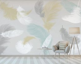 feather wallpaper home decor NZ - Nordic Colorful Feather Wallpaper Bedroom Wall Mural Wedding Room Home Art Wall Decor Papel De Parede Papers Full Hd Widescreen Wallpa TA3b#