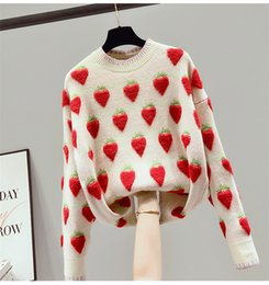 Designers Clothes 2020 Women Winter Pullover Cashmere Blend Fashion Strawberry print Sweaters 2 Colors Streetwear Sweater