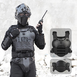 Wholesale Bulletproof Plate Tactical armor suit with elbow breastplate, crotch waist seal and adjustable PC material zdl1228.