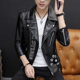 Wholesale knit sleeve faux leather jacket resale online - Autumn Personality Printed Mens Faux Leather Jackets Motorcycle Long Sleeve Zippers Slim Night Show Mens Short Coats Plus Size