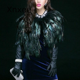 Wholesale short costume capes for sale - Group buy Elegant Feather Fur Coat Short Outwear Women s Shawl High grade Fur Cape Perform Costume Clothes For Ladies