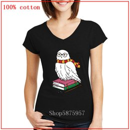Wholesale harry potter shirts for sale – custom New Arrival Hedwig Harry Potter lovers V neck t shirt women Cotton Summer Tops Comfortable Tees Anti Wrinkle fashion