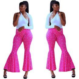 Wholesale print wide pants elastic waist resale online – Womens Designer Wide Leg Pants Elastic Waist Dot Print Long Trousers Streetwear Fashion Casual Female Clothing