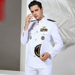 Wholesale white military suit resale online - Quality US Standard Navy Uniform White military Clothes Men America Navy Formal attire White Military Suits Hat Jacket Pants