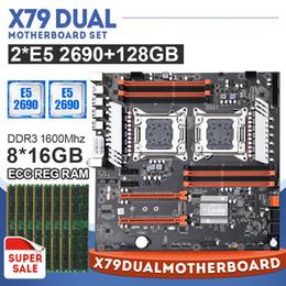 venda por atacado LGA2011 X79 CPU dual-Mãe definido com 2 × Xeon E5 2690 e memória de 8 × 16 GB = 128 GB 1600 MHz DDR3 ECC REG e 128G M.2 SSD