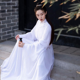 Wholesale han dynasty resale online - Ancient Han Dynasty Princess Clothing White Hanfu Dress Round Robe Fairy Dress Women Hanfu Classical Folk Dance Costume SL4171