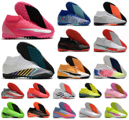 Wholesale turfs shoes resale online - Hot Superfly VII Elite TF Rosa Panther Sancho Safari Indoor Turf CR7 Ronaldo Mens Soccer Shoes Football Boots Cleats Size