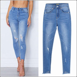 sexy torn pants NZ - Women Blue Slim Stretch Pencil Jeans Sexy Distressed Torn Hole Irregular Ankle Skinny Denim Pants Casual Europe Streetwear Jeans
