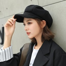 Wholesale printer man for sale - Group buy Wool Women Girls Beret hats Autumn Winter Solid Color Octagonal Cap Stylish Artist Printer Newsboy Caps Black Grey Beret Hat