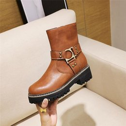 bikers boots UK - YMECHIC Winter 2020 Fashion Booties Woman Buckle Rivet Block Chunky High Heel Biker Motorcycle Ankle Boots Female Shoes Big Size