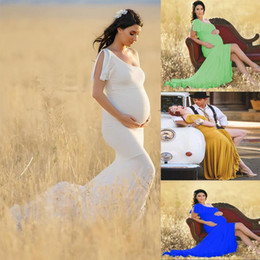 Wholesale Fashion One Shoulder Maternity Dresses for Photo Shoot Pregnancy Dress Pregnant Women Baby Shower Dress Photography Props1