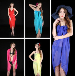 Fashion Chiffon Women Sexy Chiffon Wrap Pareo Dress Sarong Beach Bikini Swimwear Cover Up Scarf Shawl on Sale