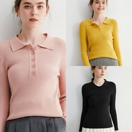 Wholesale long sleeve polo for women for sale - Group buy eqb60 Autumn winter polo Korean bottoming slim long sleeve collar shirt fit solid color new sweater for women Sweater shirtShirt shirt n