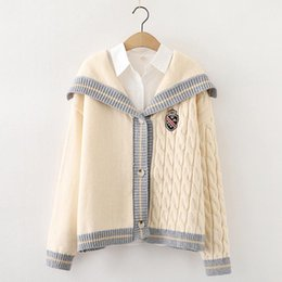 Wholesale big breasted lady for sale – winter Fashion autumn and winter style sweater big lapel stitching single breasted twist cardigan sweater new long cardigan ladies cardigan casua
