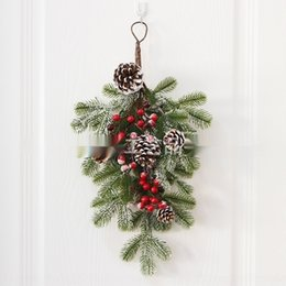 Wholesale the upside for sale – custom WfjPH restaurant American pine vine upside on the wall Props down tree wall hanging door hanging Christmas Christmas tree decoration props ga