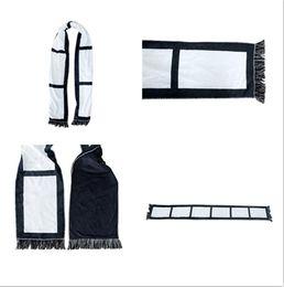 Blank Sublimation Fleece Scarf White& Black Plaid Tassels Winter Thremal Heat Scarves Adult Kids Panel Plaids DIY Double Layers F110502 on Sale