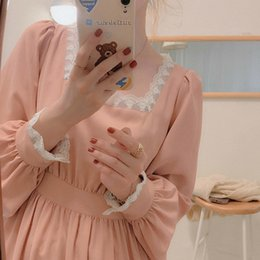 girls dresses midi NZ - Sweet Pink Girl Elegant Lace Women's Faeries Japanese Puff Kawaii Korean Midi Party Dress 2021 Female D55x