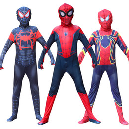 Wholesale miles morales costume for sale – halloween Spiderboy Into the Spider Man Cosplay Miles Morales Zentai Suit Costume for Kids Carnival Party Dress Up